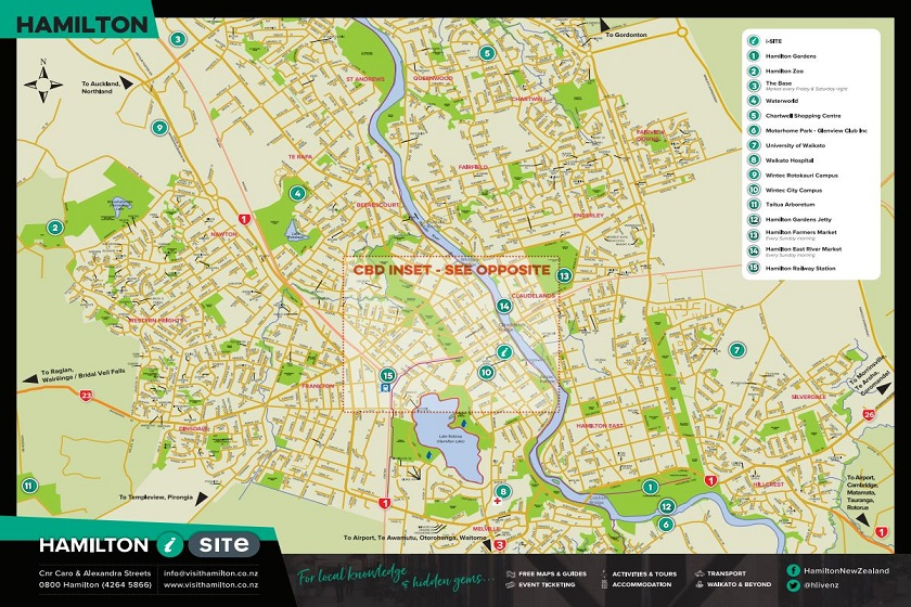 Hamilton Map New Zealand.Visitor Essentials Visit Hamilton